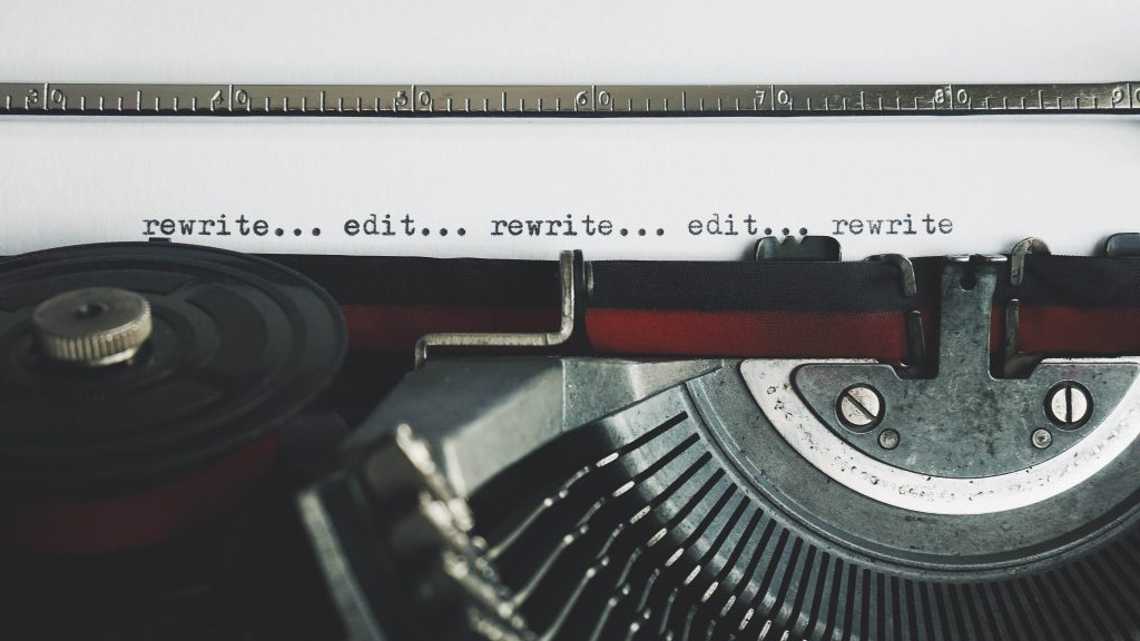 Typewriter with text